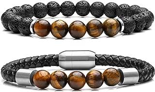 2 Pcs Bead Bracelet for Men Women Lava Rock Essential Oil Diffuser Bracelet Black Leather Natural Stone Beaded Bracelet Set Stainless Steel Cuff Bangle Adjustable