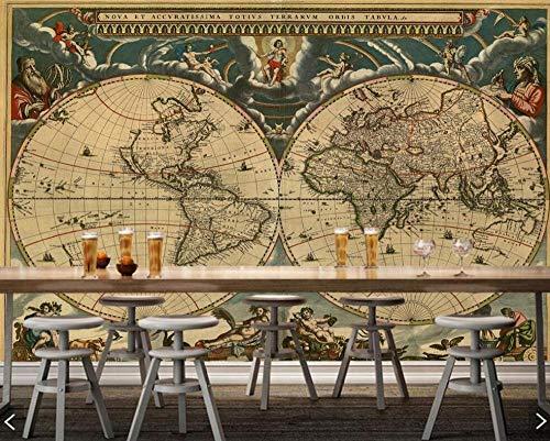 3D fotobehang landkaart retro woonkamer sofa TV muur slaapkamer keuken behang decoratie voor huis restaurant café muur 430 * 300cm #004