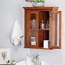 خزانة تخزين حائط خشبية 61 سم مع باب زجاجي مزدوج من جليتزهوم