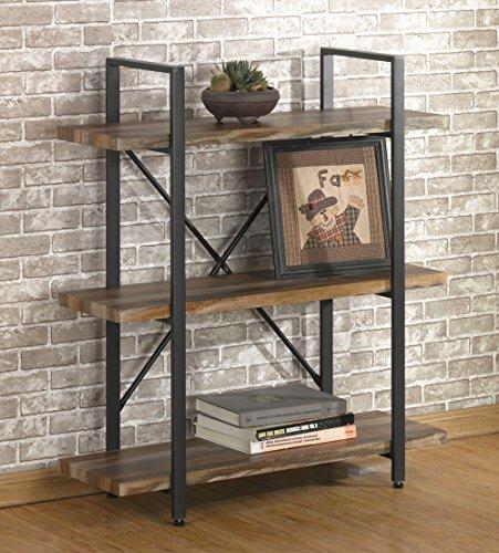 O&K Furniture 3 Tier Vintage Bookshelf, Industrial Style Bookcases Furniture, Vintage Brown