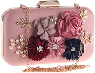 NSHUN Women's Flower Clutch Handbag Evening Bag Prom Party Wedding Cocktail Clutch Purse Bride Floral Clutch Bag with Pearl Beaded