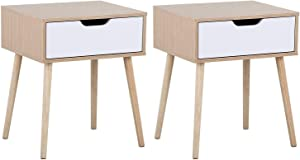 YAHEETECH Mid Century Bedside Table Nightstand for Bedroom - Sofa Side End Tables with Storage Drawer Wood Legs, 19L x 16W x 22.5H Inch, Set of 2