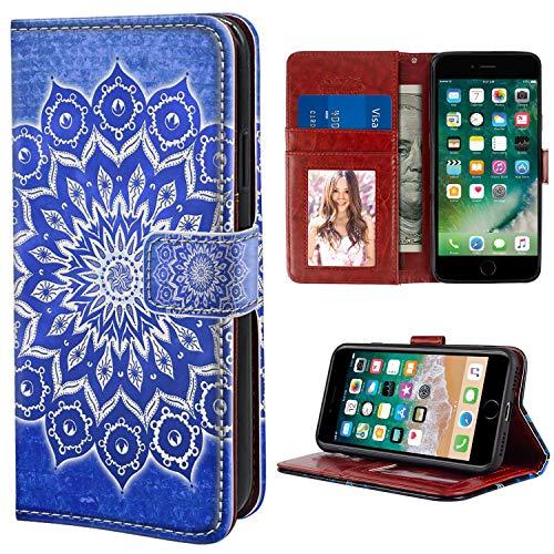 Naikuyi Funda tipo cartera con diseño de mandala azul con ranuras para tarjetas, correa de muñeca para iPhone 6 Plus iPhone 6S Plus modelo para niñas y mujeres
