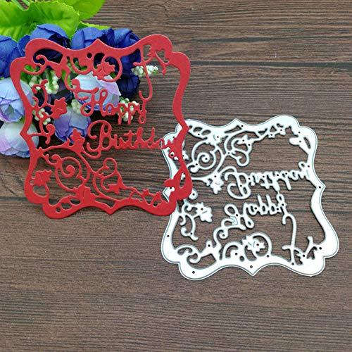 YAOKAIDAN Feliz cumpleaños Marco de Flores Troqueles de Corte de Metal Tarjeta de Bloc de Notas Invitación Arte de Papel Decoración de Fiesta En Relieve Cortador de Plantilla