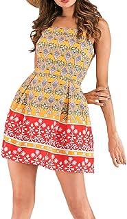 JIAJU-DJ Womens Boho Camisole Beach Mini Dress Ladies Leopard Print V-Neck Party Dress