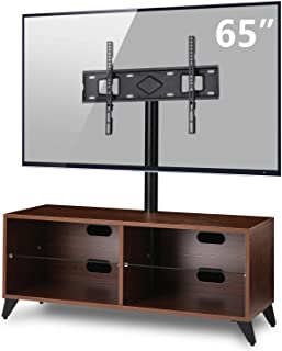 TAVR Wood Media TV Stand Storage Console with Swivel Mount Height Adjustable Entertainment Center for 32 42 50 55 60 65 inch Plasma LCD LED Flat or Curved Screen TV Shelf Storage Cabinet,Walnut
