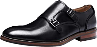 Scarpe Double Monk Strap Uomo con Fibbia Formale Business Elegante Comodo Mocassini in Pelle Derby Nero Marrone