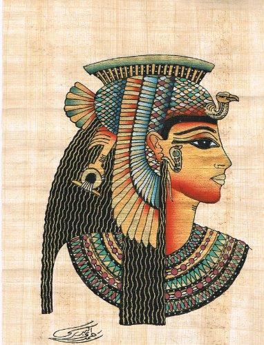 """Pintado a mano en Egipto Papiro Natural muestra a la reina Cleopatra. Cleopatra, fue el último faraón activo del antiguo Egipto Tamaño 7.8 """"x 30.0 cm"""