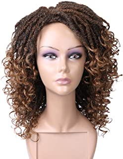 Lady Miranda Dreadlock Wig Mixed Brown Color Natural Wavy Looking Twist Synthetic Wigs for Women(1B/30)
