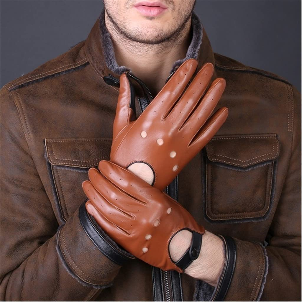 WBDL Leather Gloves Black Brown Winter Autumn Fashion Men Women Breathable Driving Sports Gloves Mittens for Male Female (Color : Chocolate, Size : 23 cm)