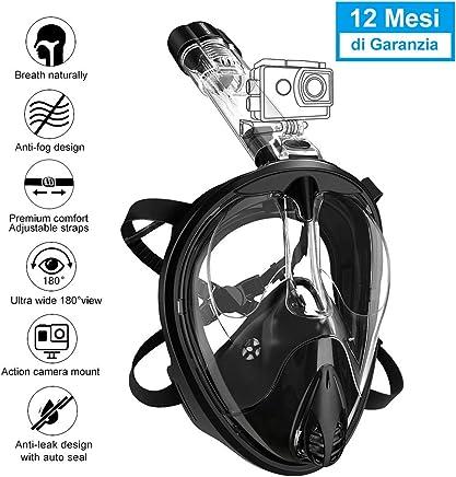ENKEEO Máscara de Buceo Snorkel de Cara Completa, 180°Snorkel Mask con Larga Vision Anti-Niebla UV 400 Base para Cámara Gopro, Tubo de Respiración Desmontable de Tipo Seco(L/XL, Negro) …