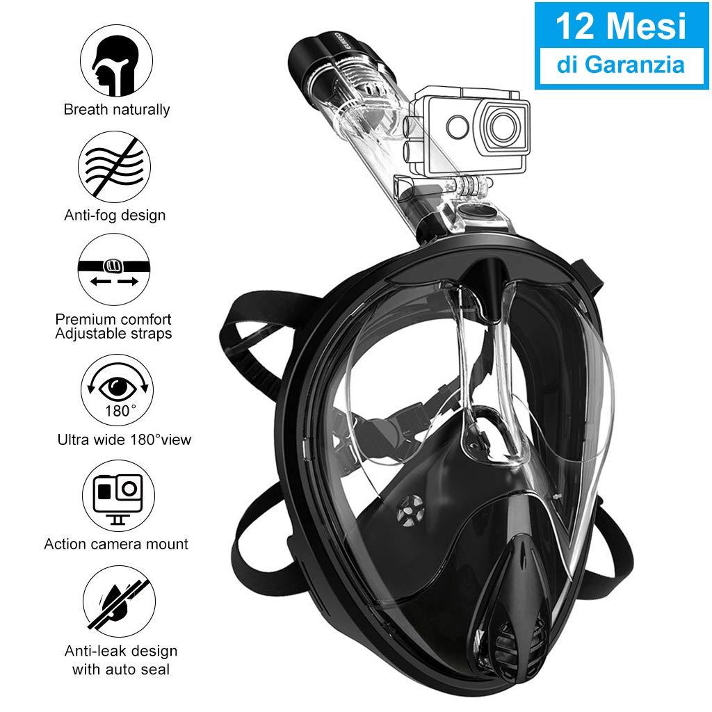 ENKEEO Máscara de Buceo Snorkel de Cara Completa, 180°Snorkel Mask ...