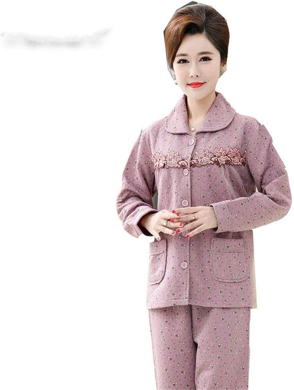 RGHOP Pyjamas Female Herbst Winter Large Größe gekmmte Baumwolle Interlayer Increase.Dünger hinzufügen.Heimservice.einstellen