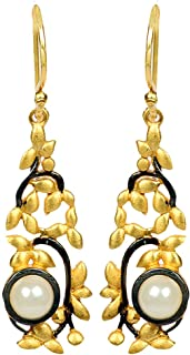 Jewel Cartel Golden 925 Silver Dangle & Drop Stylish Earrings for Women and Girls with Pearl