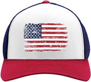 4th of July Vintage Distressed USA Flag American Patriot Trucker Hat Mesh Cap