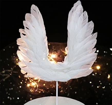 Sinrier Angel Wing Cake Topper Decoration With LED Light For Anniversary,  Birthday Party & Wedding