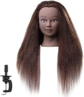 FABA Mannequin Head 100% Real Hair Training Head Cosmetology Doll Head with 18-20 inch Hair for Practice Hairstyle with Free Clamp 2# Color (16 inch)