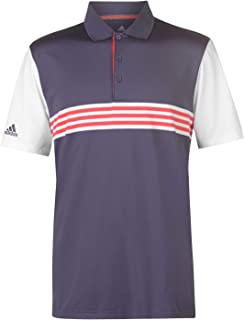 Official Brand Adidas 3 Stripe Golf Polo Shirt Mens Purple Activewear Collar Top Tee Small