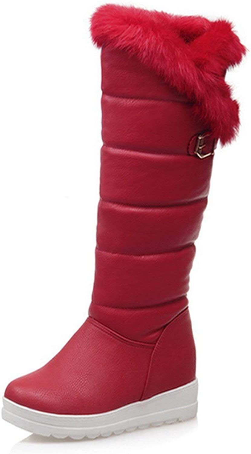 Summer-lavender Knee High Boots Red Winter shoes Warm Women Snow Boots Height Increasing Buckle Wedges Boots Plush
