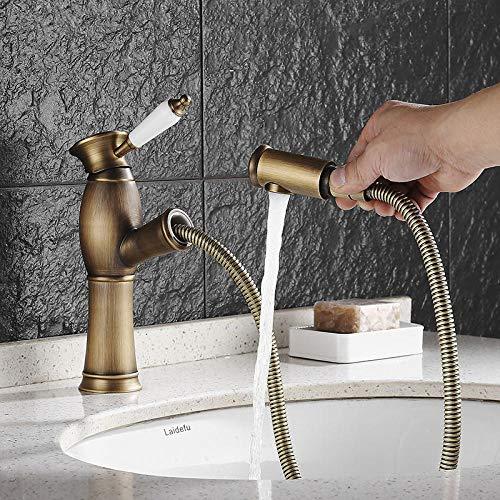 Uittrekbare wastafelkraan in de badkamer, zwarte kraan, mengkraan voor warm en koud water, fijne koperen kraan Mengkraan voor puur koper badkuip, Antique_Bronze