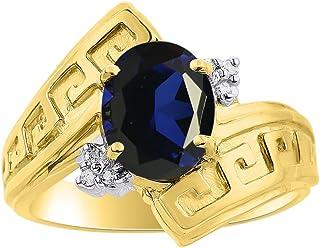 Anillo de diamantes y zafiro en oro amarillo de 14 quilates, diseño de llave griega, piedra natal de color