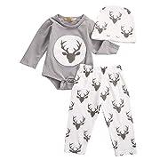 HOT Sale!!3Pcs Outfits Clothes Set,Newborn Infant Baby Boy Girl Deer Romper Tops + Pants + Hat (Gray, 18M)