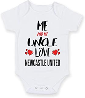 Cheyan Me and My Uncle Love Newcastle United - Personalised Football Team Baby Boy Girl Unisex Short Sleeve Vest Bodysuit