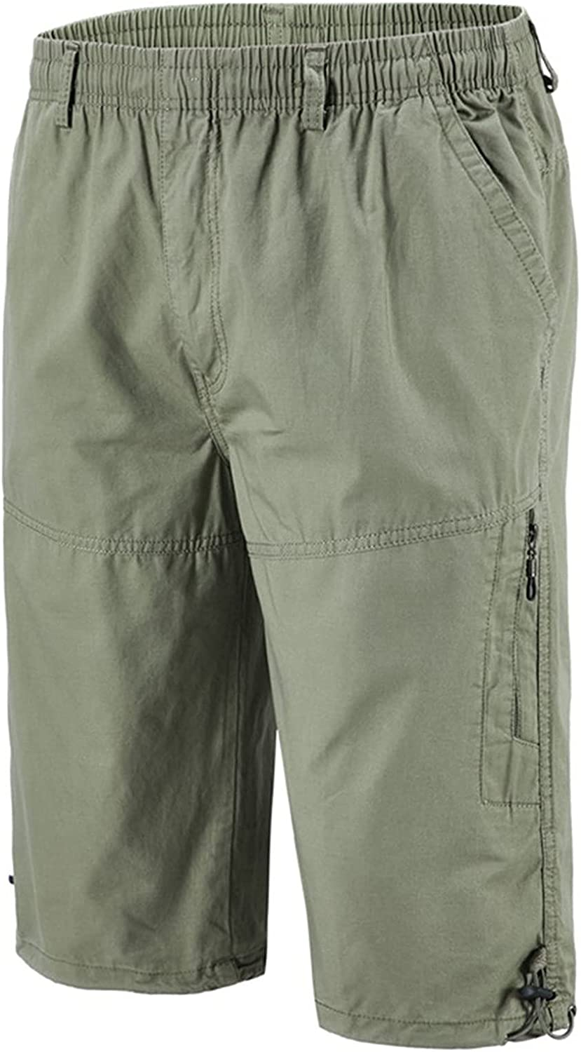ZCAITIANYA Men's Cropped Trousers Cargo Shorts Solid Cotton Elastic Waist Casual Outdoor Loose Multi Pockets