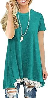LaLaLa Casual Vestito A-Line con Maniche Corte Donna Maniche Corte al Ginocchio T Shirt Top Camicia