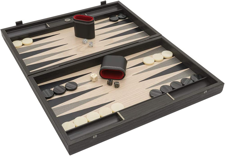 Manopoulos The grau Oak and Platinum Luxury Backgammon-Set mit Philos Deluxe Tassen