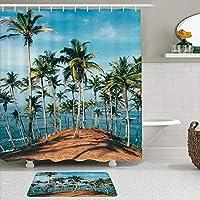 MIMUTI シャワーカーテン バスマット 2点セット ヤシの木と澄んだ海のビーチをテーマにした熱帯の島の海の画像プリント 自家 寮用 ホテル 間仕切り 浴室 バスルーム 風呂カーテン 足ふきマット 遮光 防水 おしゃれ 12個リング付き