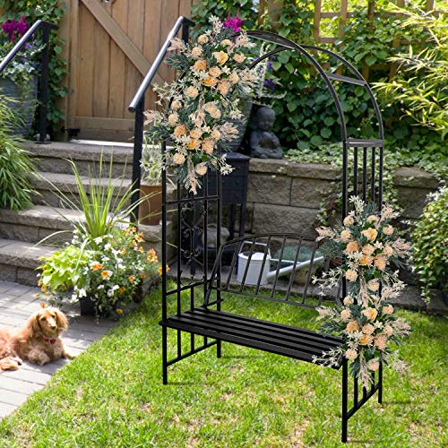 Vines Soar Metal Curve Seating Cute Strong Body Alfresco Outdoor Activity Party Patio Garden Lawn Care Decor Gardening Plant Support Structures Black Archway Pergola Arbors with Bench