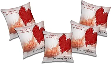 RADANYA Everything to Me Printed Polyester Cushion Cover Set of 5 Pcs - 18x18 Inch, Ivory
