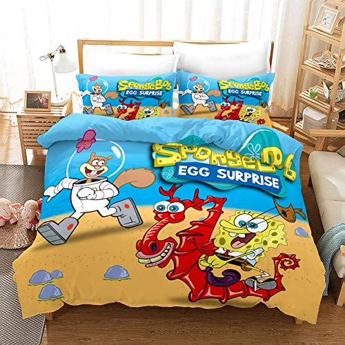 Showkig Bedding Set 3D Flowers Printed Polyester Duvet Cover with Pillowcase,Cartoon Anime Spongebob Squarepants,Queen King Size Duvet Cover, 1 Quilt Cover, 2 Pillowcases