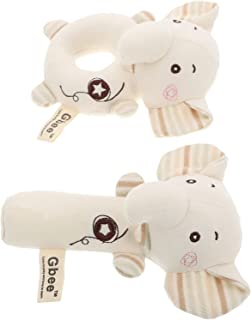 Generic Baby Soft Rattle Toys: 2 Pieces Elephant Fabric Ring Rattles Shaker Infant Handbells- Early Development Toys Stuff...