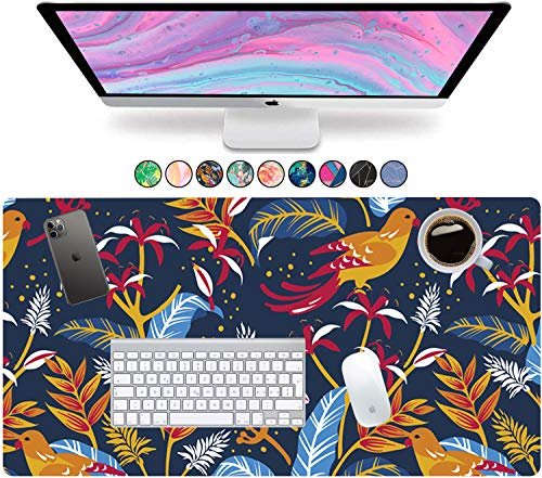French Koko Large Mouse Pad, Desk Mat, Keyboard Pad, Desktop Home Office School Cute Decor Big Extended Laptop Protector Computer Accessories Pretty Mousepad Women Girls XL 31'x15'(Blue Sky)