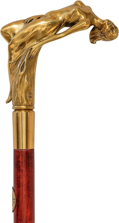 Spazierstock Bronzeskulptur Frau Flanierstock Gehstock Antik-Stil - 92cm