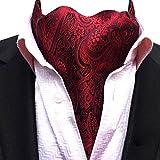 YCHENG Herren Krawattenschal Elegant Jacquard Paisley Floralem Muster Cravat Accessoires LJA-18 Rot One Size