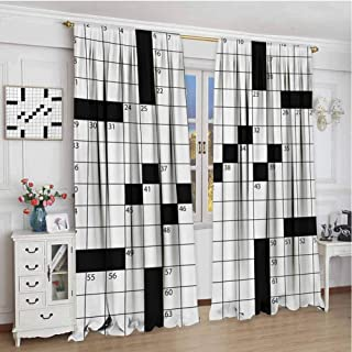 zojihouse Word Search Puzzle Blank Newspaper Style Crossword Puzzle with Numbers in Word Grid Valance Curtains Black and White Blackout Drapes for Baby Bedroom W84Xl72