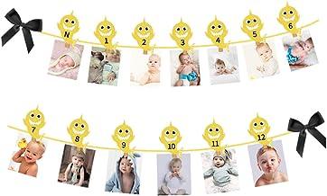 Palksky Gold Glitter Shark Photo Banner for Baby Shower Newborn to 12 Months,1st Frist Birthday Celebration Decoration