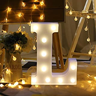 Amzure LED Marquee Letter Lights Sign 26 Alphabet Light Up Marquee Letters Sign for Perfect for Events or Home Décor Night Light Wedding Birthday Party Battery Powered Lamp Bar Decoration (L)