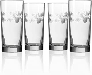 Rolf Glass Icy Pine Highball Glass 15 ounce - Cooler Glass Set of 4 - Lead-Free Glass - Etched Drinking Glass with Heavy Base - Proudly Made in the USA