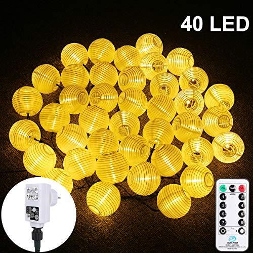 12m LED Lampion Lichterkette, ALED LIGHT 40er LED Wasserdichte Lichterketten Gartenlaterne, Fernbedienung, 8 modi lichterketten für Party Weihnachten Halloween - Warmweiß