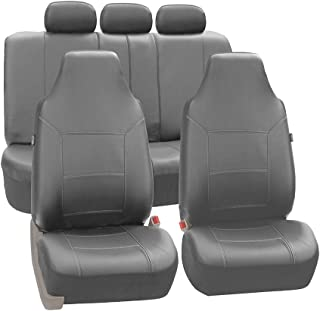 FH Group Universal Fit Full Set High Back Royal Seat Cover - PU Leather (Solid Gray) (Airbag Compatible and Rear Split, Fit Most Car, Truck, SUV, or Van, FH-PU103115)