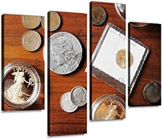 IGOONE 4 Panels Canvas Paintings - Coin Collection Rare u s Coins Old Magnifying glasss and Pictures - Wall Art Modern Posters Framed Ready to Hang for Home Wall Decor