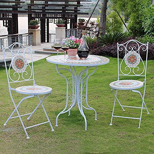 HHORB Muebles De Jardín Conjuntos Mesa Y Sillas De Metal - Vintage Al Aire Libre Impermeable Boho Estilo Balcón Muebles,Embellece Su Terraza, Balcón Y Jardín