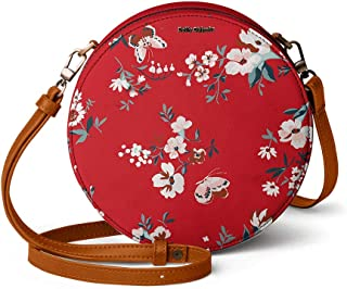 DailyObjects Red Buterflies Orbis Round Sling Crossbody Bag for girls and women | Vegan leather, Stylish, Sturdy, Zip clos...