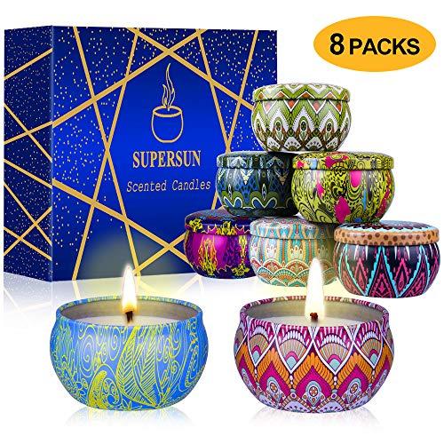 SUPERSUN 8 Velas Aromaticas Regalo para Mujer, Velas Perfumadas 120-160 Horas, Velas Aroma para Baño, Yoga, SPA, Relajación y Alivio de Estrés, Regalo para Madre, Esposa, Novia