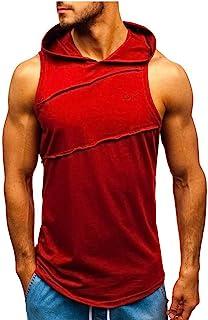 Camisetas Hombre Deporte,Camisetas Hombre Marca Baratas,Chaqueta De Chaleco De Empalme A Rayas con Capucha para Hombres Pa...