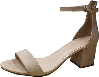 Wild Diva Women's Strappy Chunky Block Heel Platform Sandal (8.5 B(M) US, Natural)